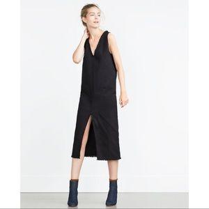 NEW Zara Black Frayed Front Slit Midi Dress
